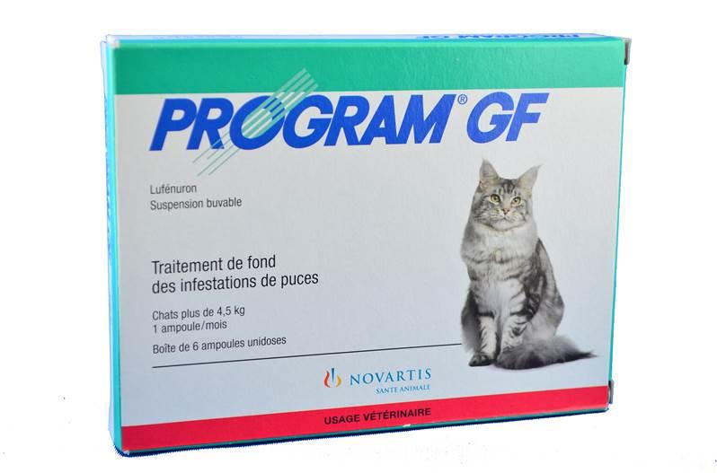 program gf traitement anti puces chats 4 5kg novartis sante animale. Black Bedroom Furniture Sets. Home Design Ideas