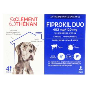 Fiprokil Duo 402mg/120mg Très Grand Chien CLEMENT THEKAN - Boite 4 Pipettes 4,02 ml