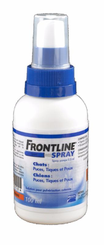 Anti puces anti tiques frontline spray antiparasitaire chien et chat - Spray anti puce chat ...