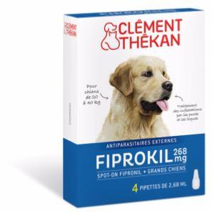 Fiprokil 268 mg Grand Chien CLEMENT THEKAN - Boite 4 Pipettes 2,68 ml
