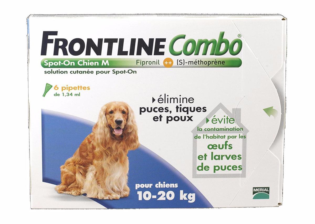 Anti puces anti tiques frontline combo antiparasitaire chien m de 10 20 kg en pipettes merial - Anti puce chien maison ...